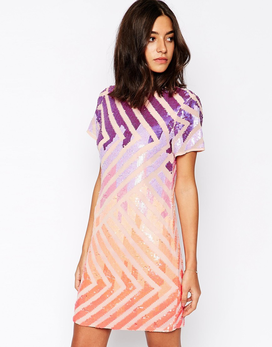 Warehouse Colourful Sequin T Shirt Dress | Lyst