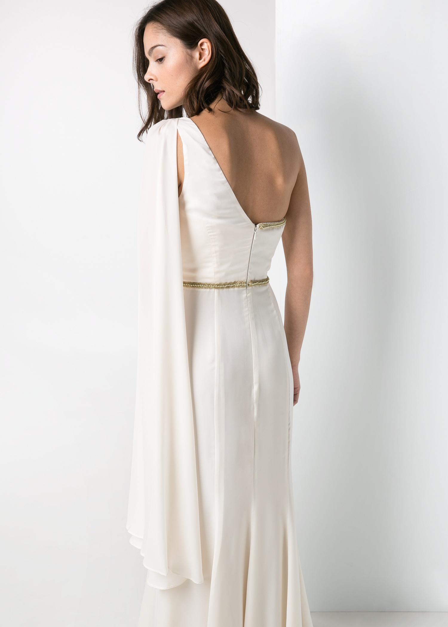 Lyst Mango Cascading Long Dress In White