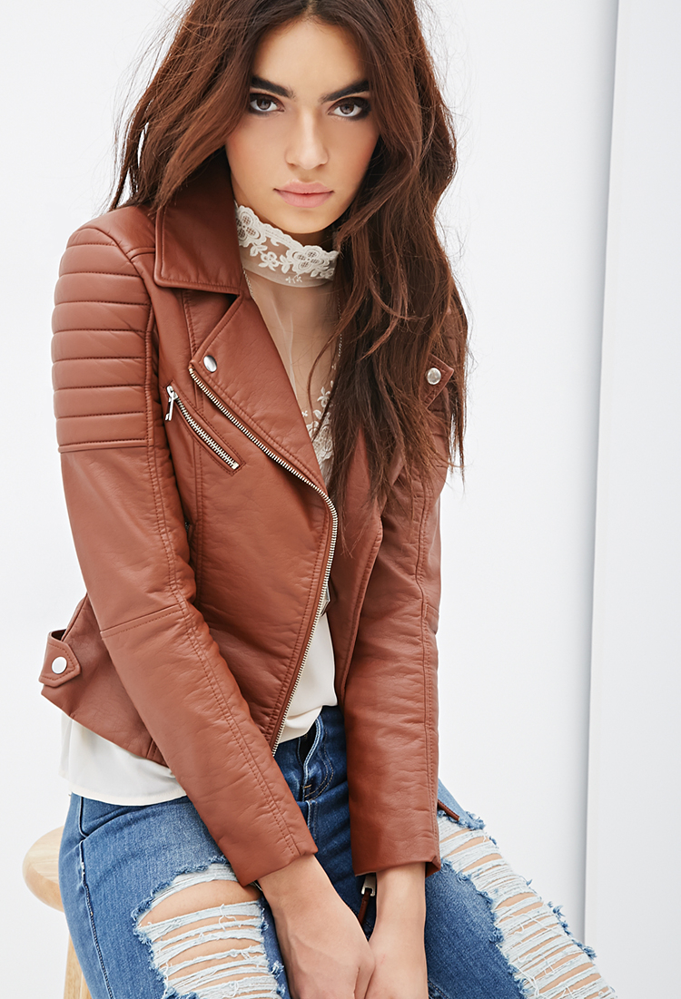 Forever 21 Quilted Faux Leather Moto Jacket in Brown | Lyst