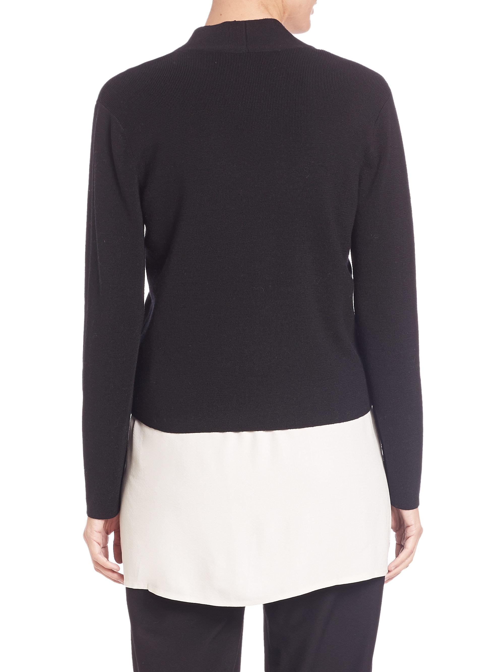 Eileen fisher Merino Wool Ribbed Short Cardigan in Black | Lyst
