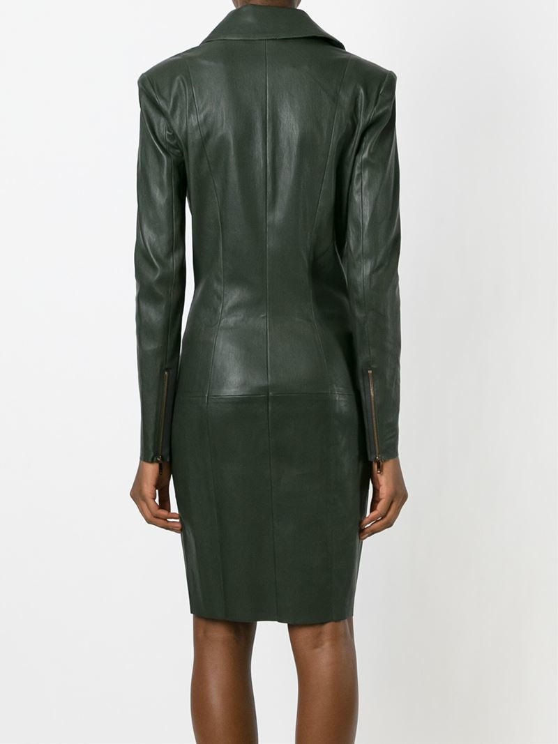 Lyst Jitrois Leather Dress In Green