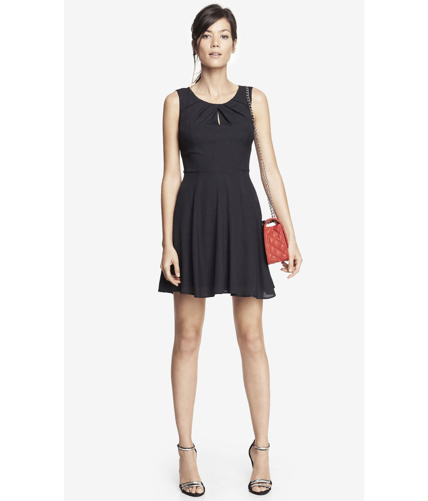 f1872704 Express Pleated Keyhole Fit And Flare Dress - Black in Black - Lyst