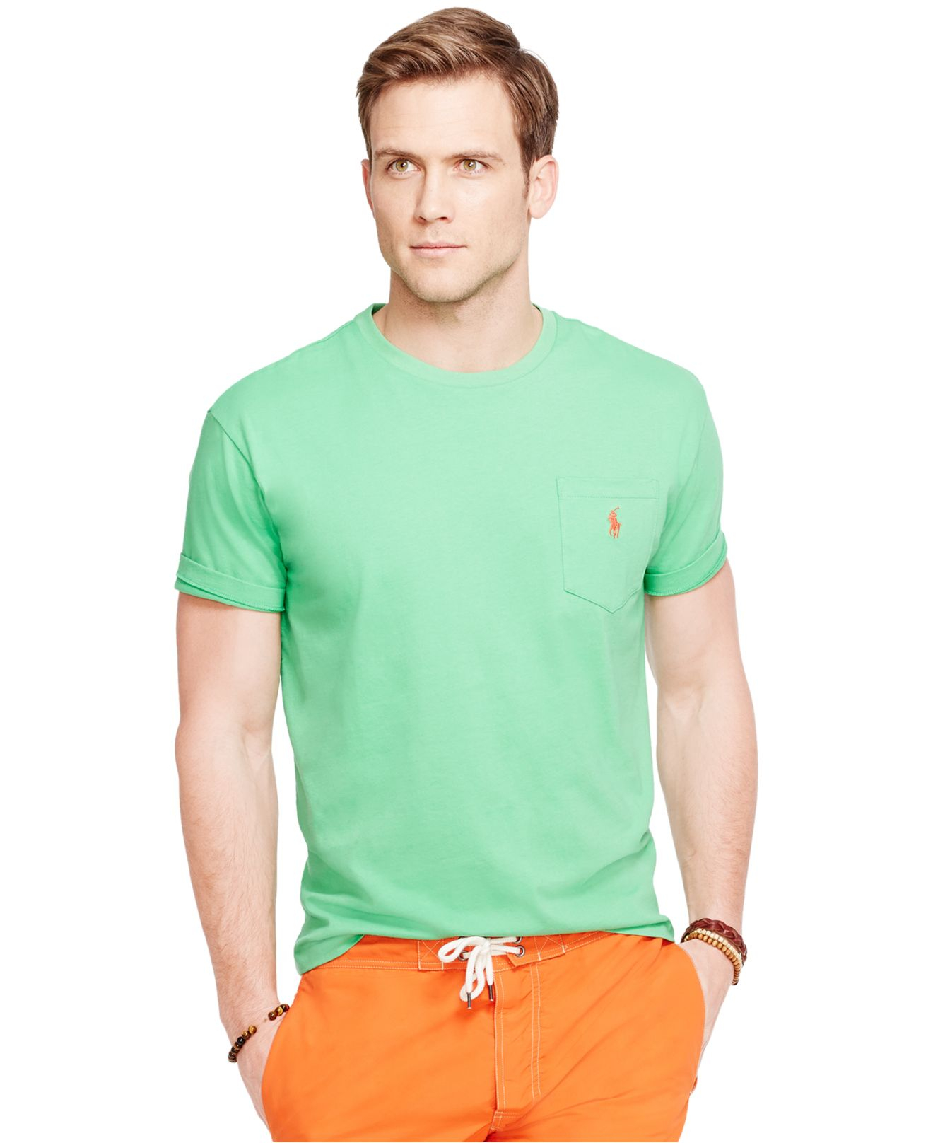 Polo ralph lauren crew neck pocket t shirt in green for for Polo t shirts with pockets