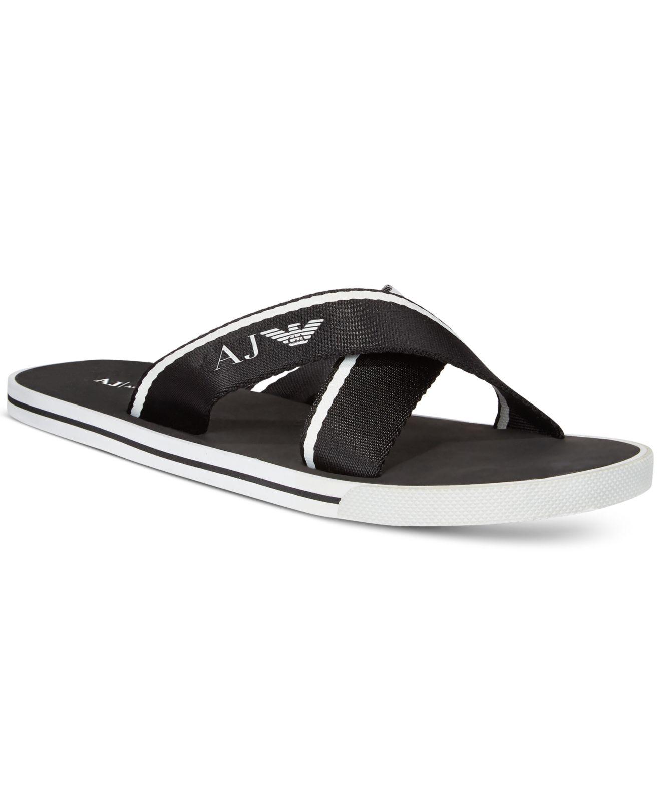 305694c97e55a Lyst - Armani Jeans Logo Slide Sandals in Black for Men