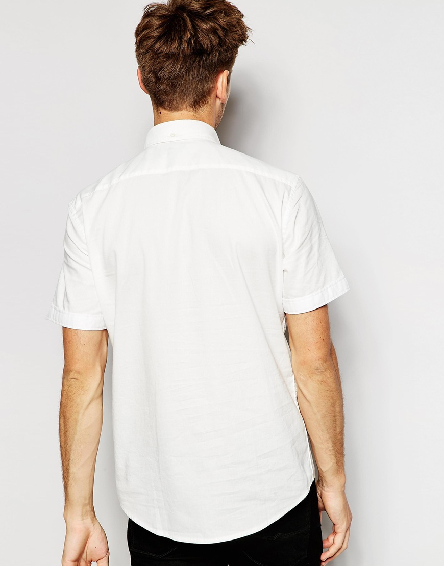 dabb32d1ccd Lyst - Esprit Short Sleeve Oxford Shirt In Slim Fit in White for Men