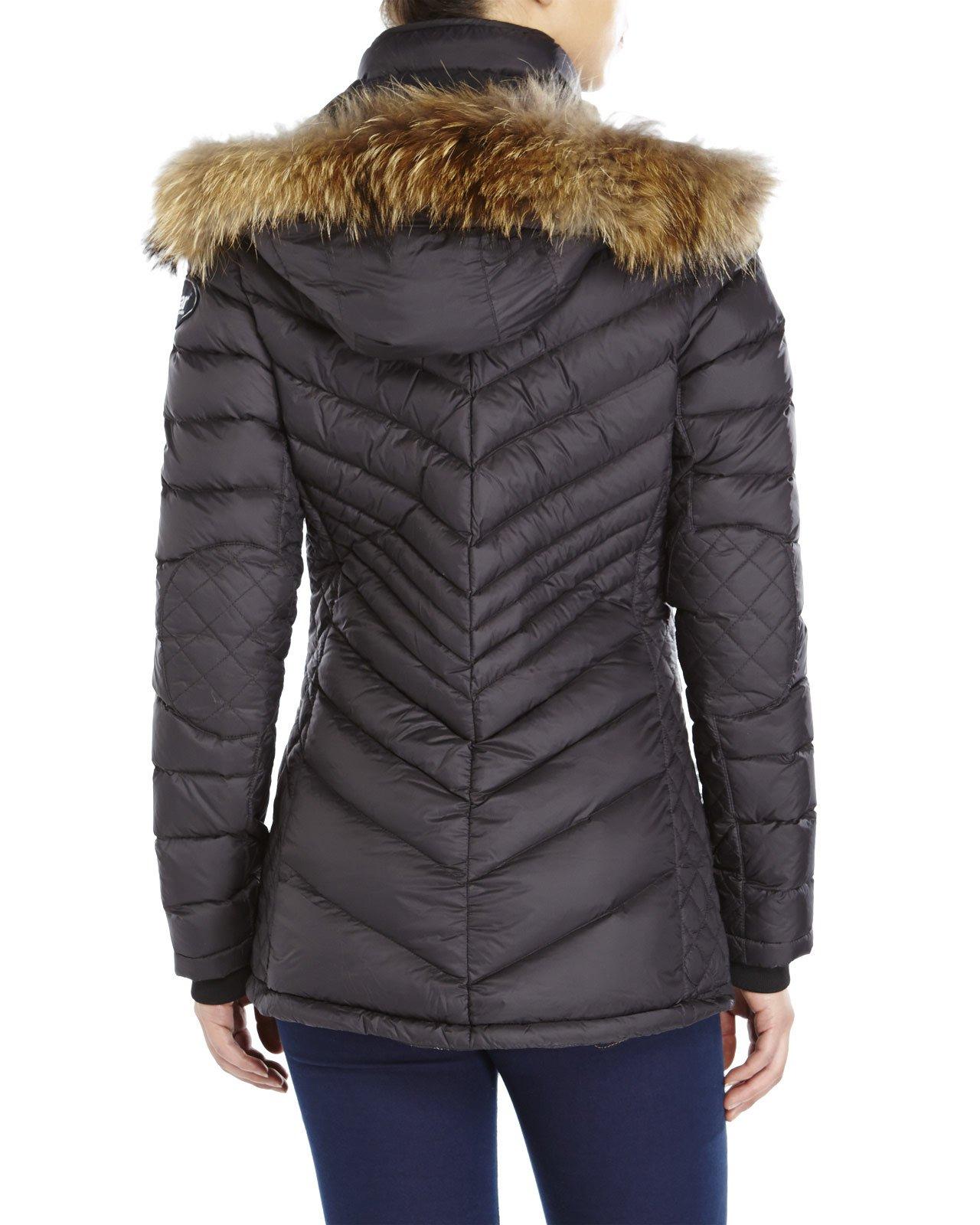 Pajar Charlotte Real Fur Trim Down Jacket in Black | Lyst
