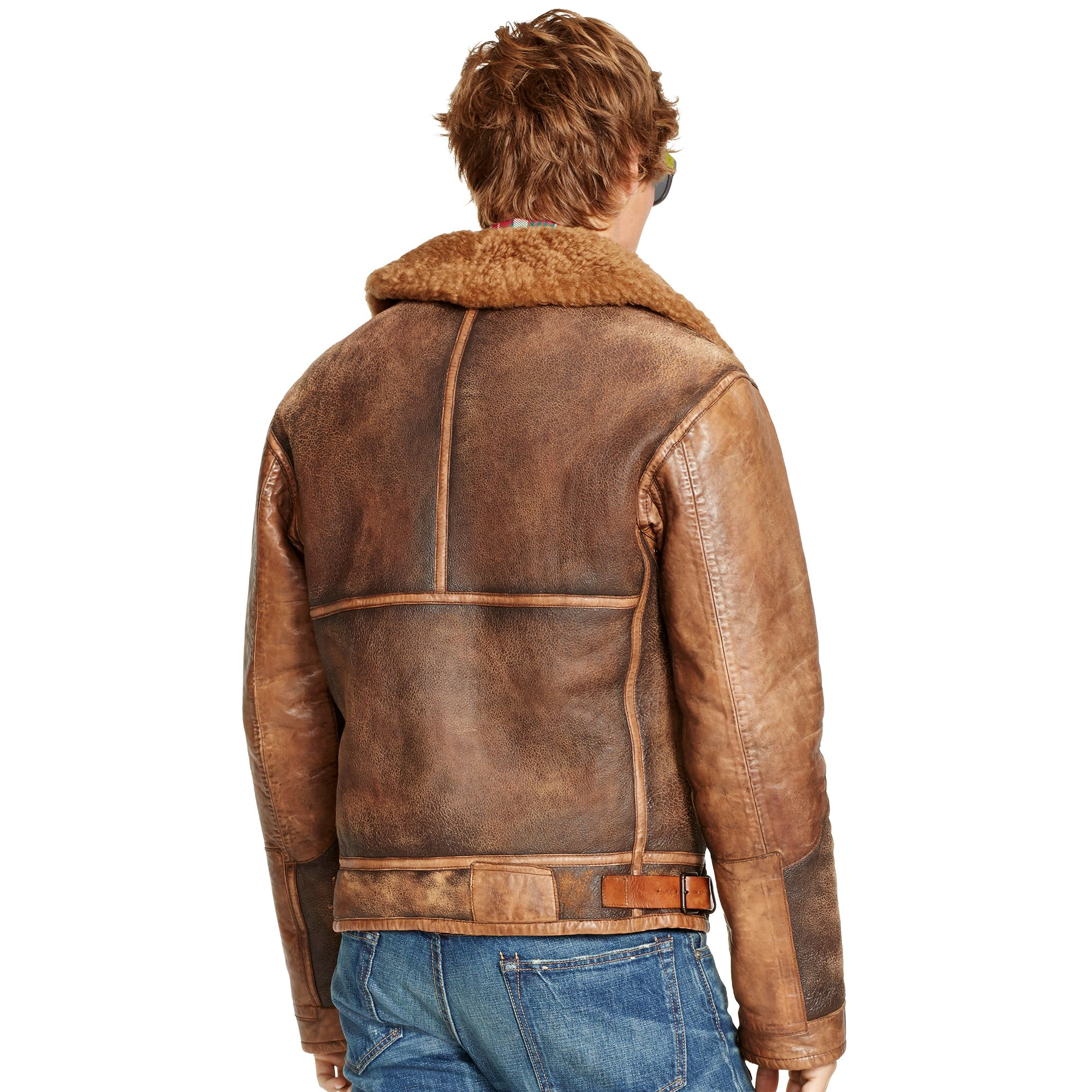 lyst polo ralph lauren shearling bomber jacket in brown. Black Bedroom Furniture Sets. Home Design Ideas
