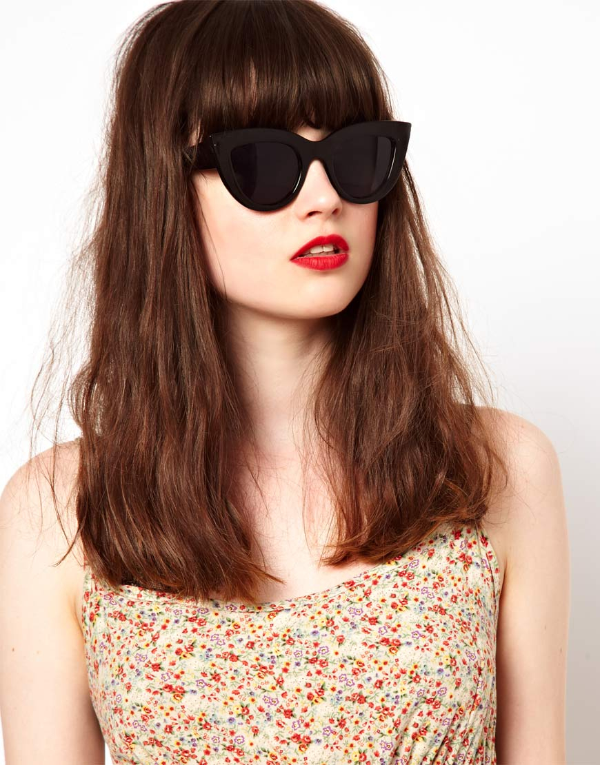 Flat Top Cat Eye Sunglasses  asos flat top cat eye sunglasses in black lyst