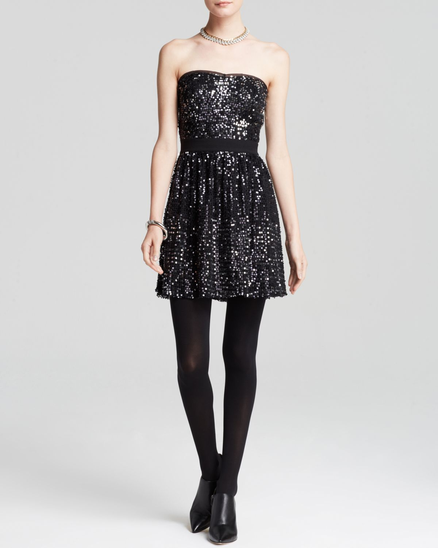 Lyst Aqua Dress Baby Sequin Strapless in Black
