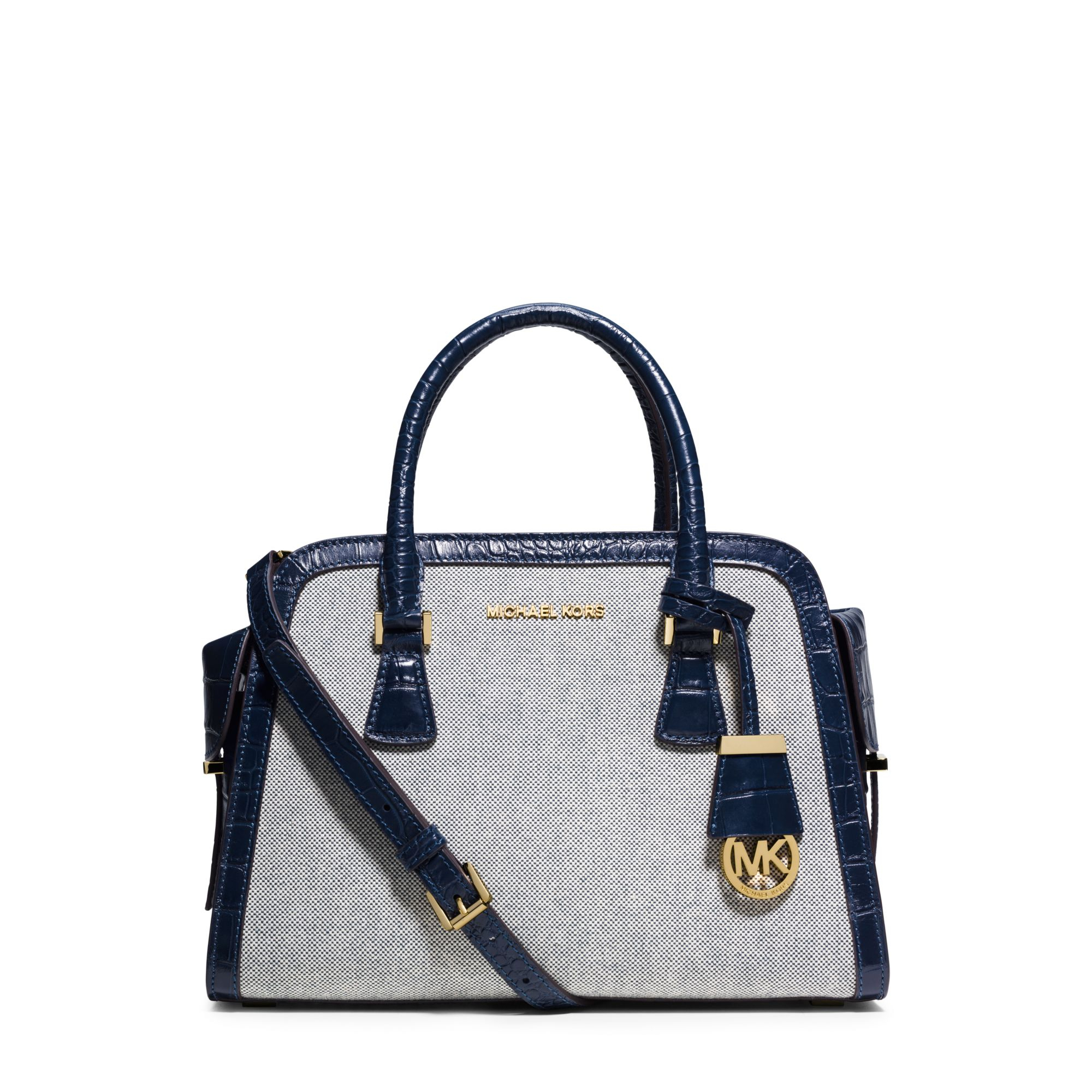 9e938be951fc Lyst - Michael Kors Harper Medium Two-tone Canvas Satchel in Blue
