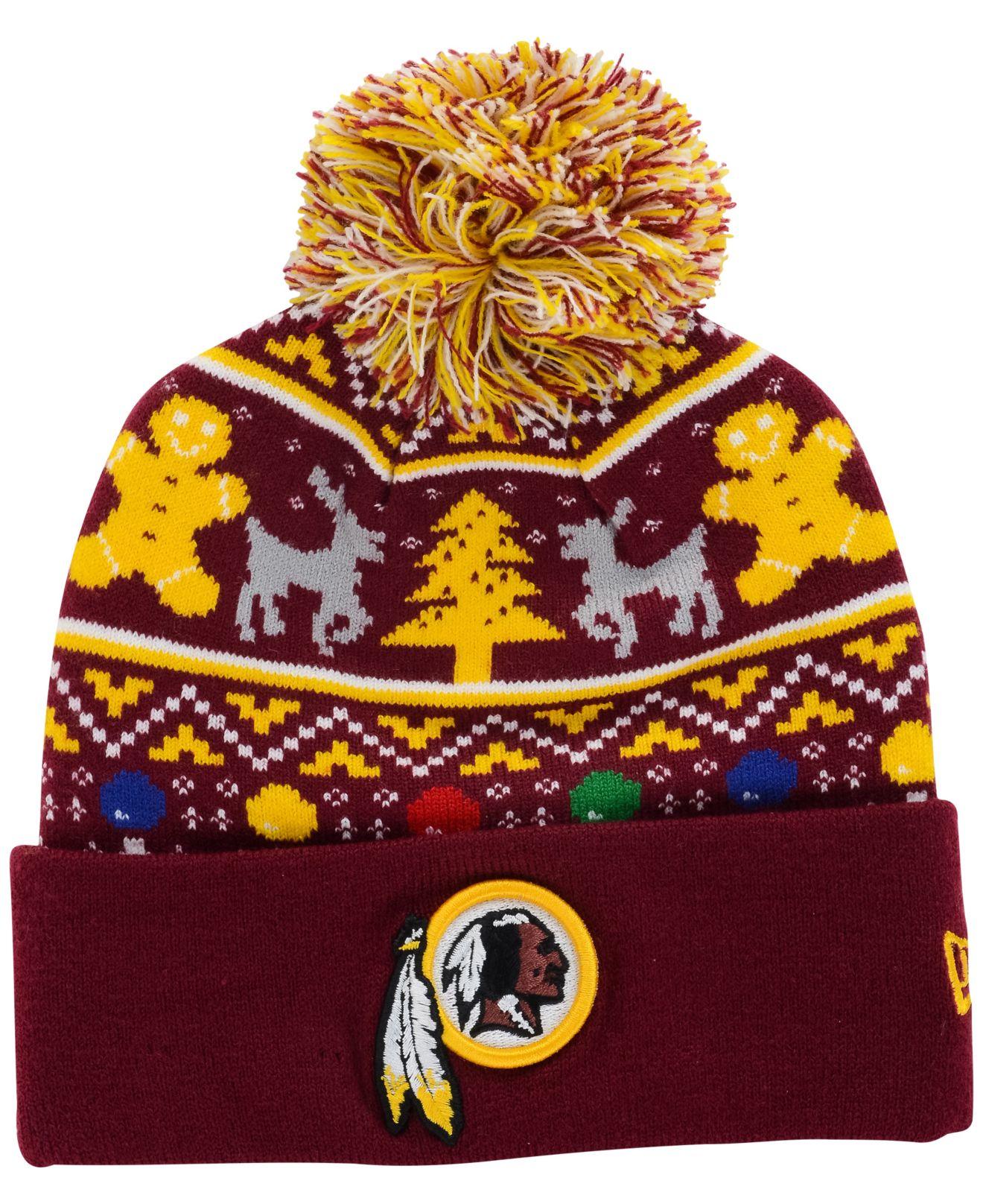 Ktz Washington Redskins Christmas Sweater Pom Knit Hat in Purple ...
