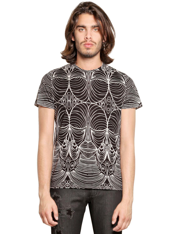 Lyst john richmond printed cotton jersey t shirt in for Richmond t shirt printing