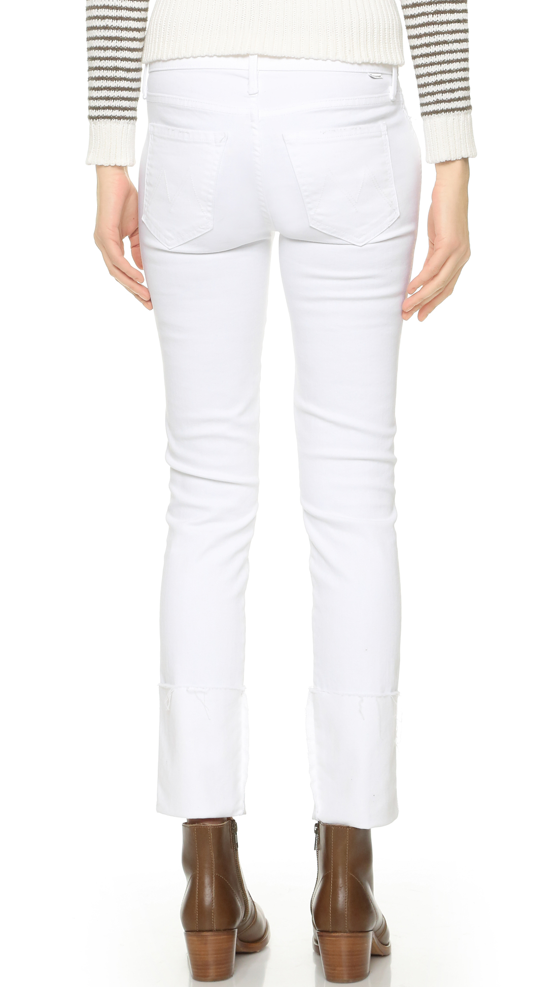 Mother The Ponyboy Fray Jeans in White | Lyst