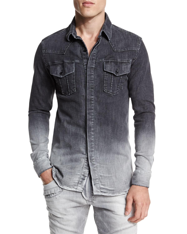 Balmain Ombre Denim Button-down Shirt in Gray for Men | Lyst