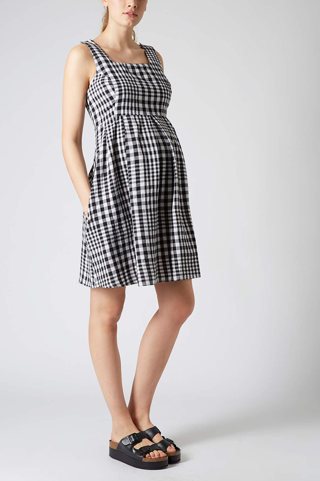 Topshop maternity gingham check smock dress in gray lyst gallery ombrellifo Image collections