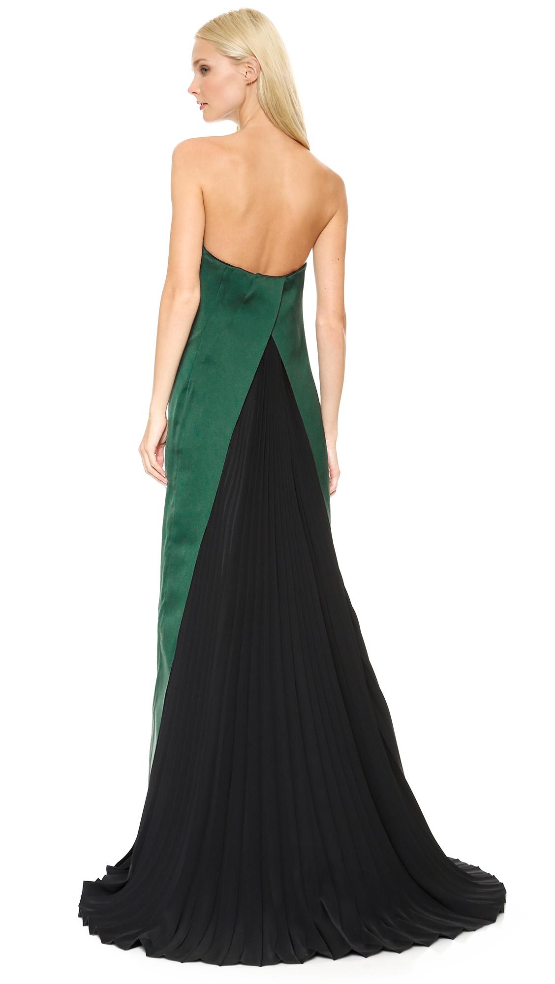 Cedric charlier Strapless Gown - Dark Green in Green - Lyst
