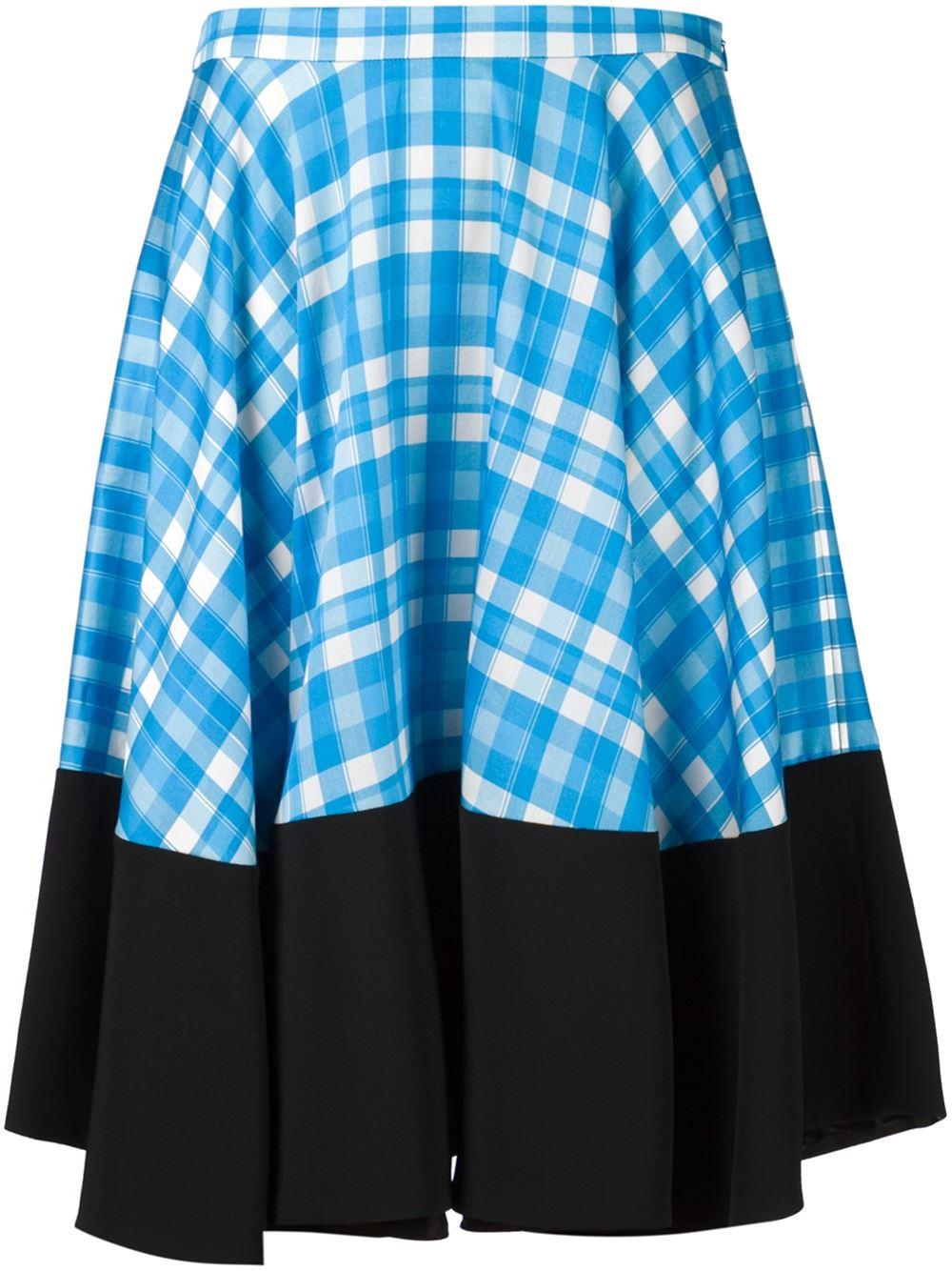emanuel ungaro contrast hem plaid skirt in blue lyst