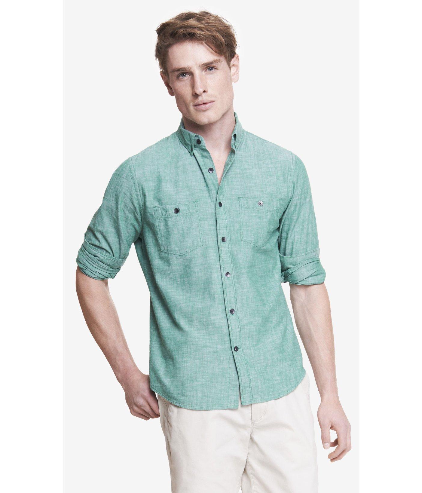 Express Slub Chambray Button Down Collar Shirt In Green