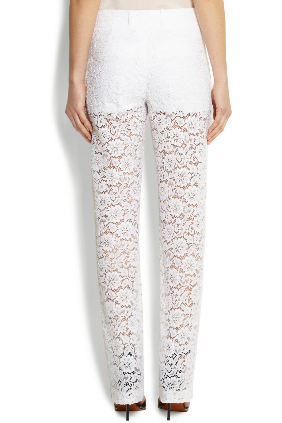 lyst givenchy white lace pants in white