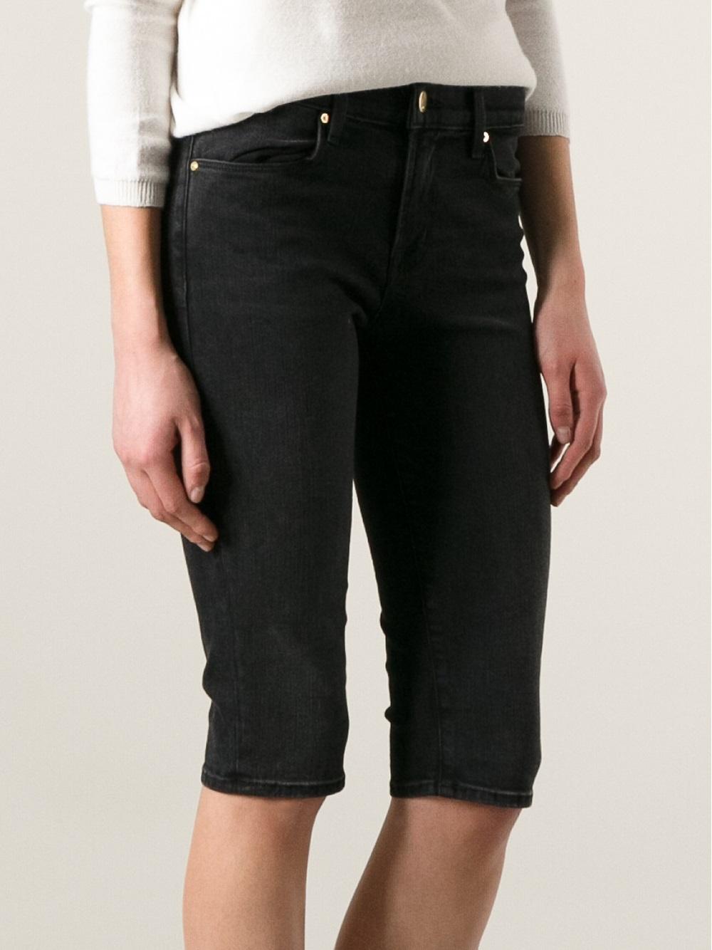Black Denim Knee Length Shorts - Hardon Clothes