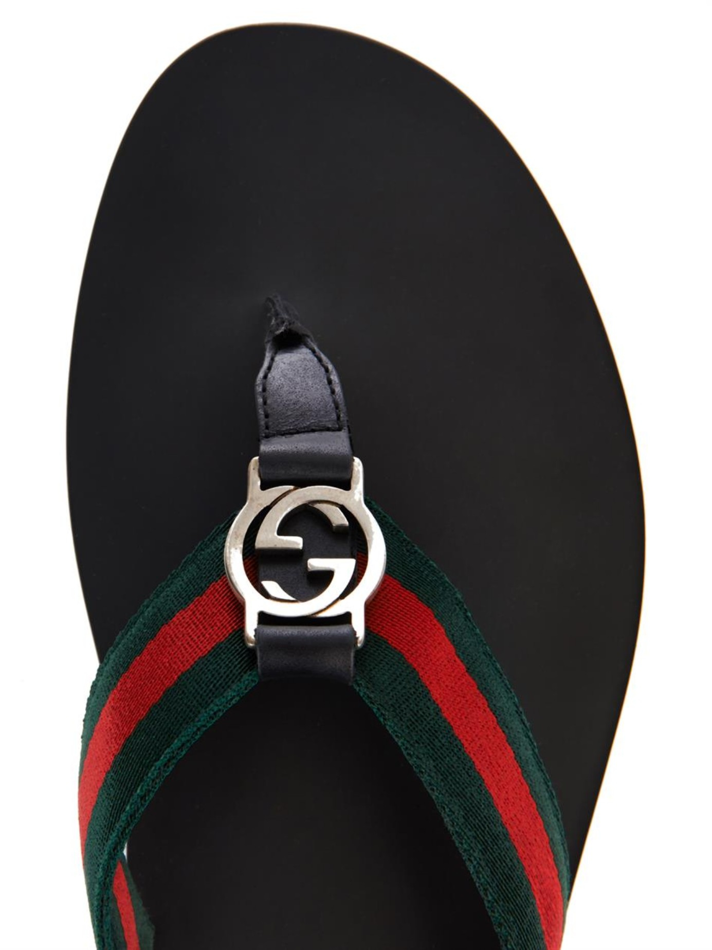 602d103b09b Lyst - Gucci Web Thong Flip-Flops in Black for Men