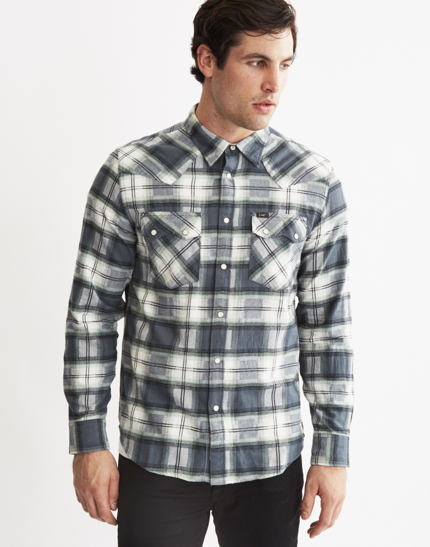Lee jeans rider shirt in brushed twill check in grey for for Brushed cotton twill shirt