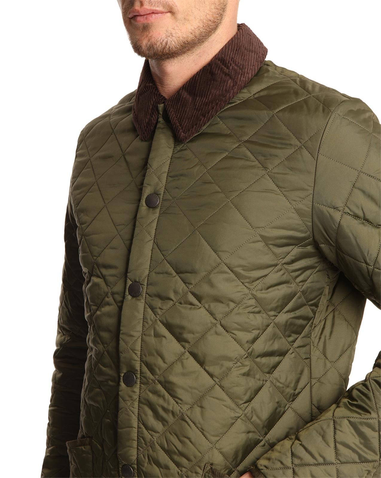 Barbour heritage liddesdale olive quilted jacket in green for Quilted jackets for men