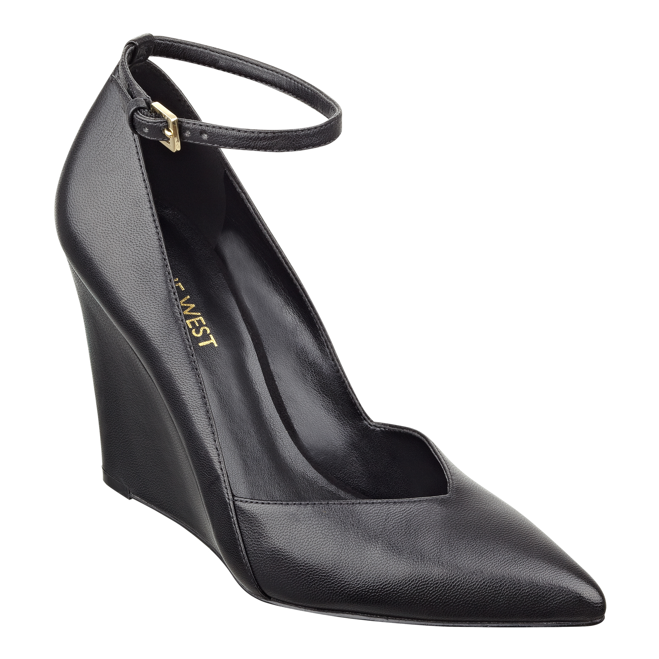 Nine West Eviee Pointy Toe Wedge in Black (BLACK LEATHER ...