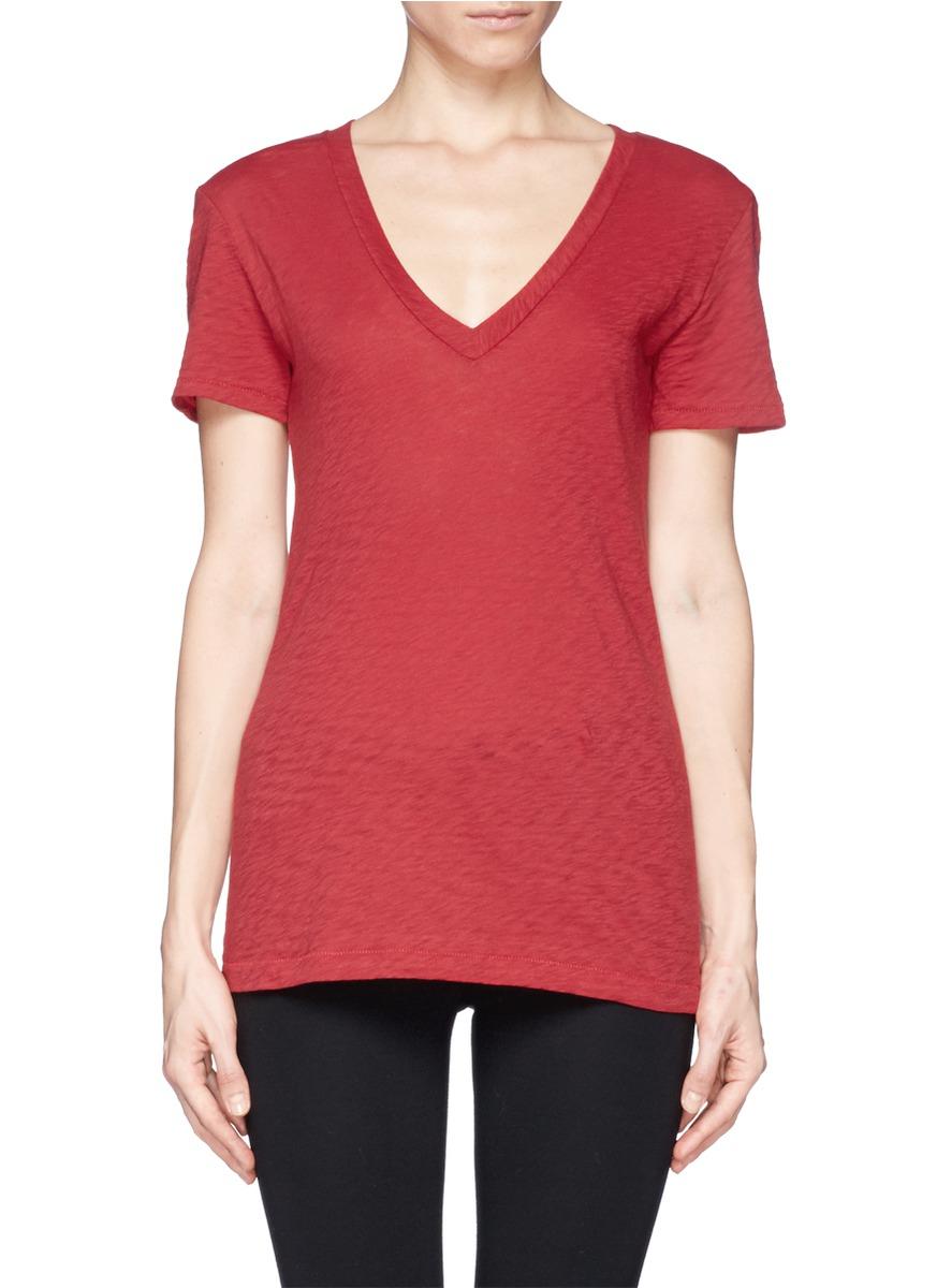 Lyst rag bone 39 the classic 39 v neck t shirt in red for Rag bone shirt