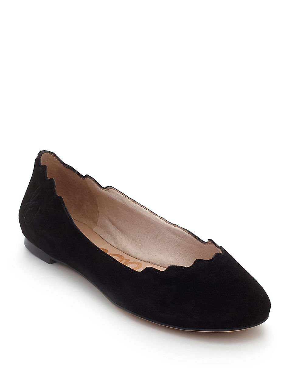 fd54172a76702 Sam Edelman Augusta Scalloped Suede Flats in Black - Lyst