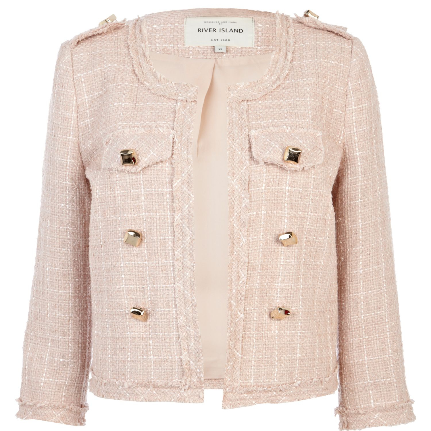 Lyst - River island Pink Boucle Stud Cropped Military Jacket in Pink