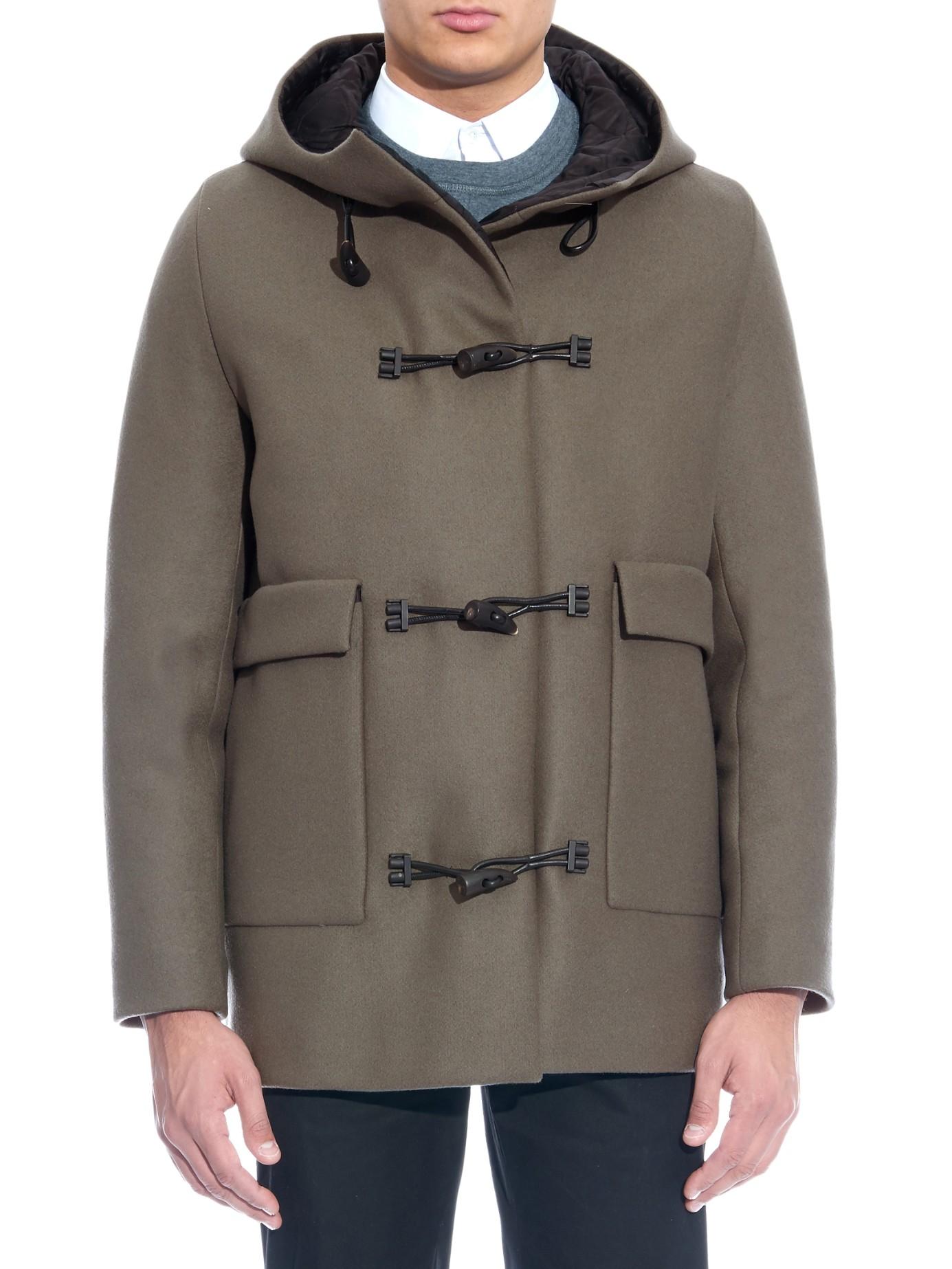 Lyst Balenciaga Wool Blend Duffle Coat In Gray For Men