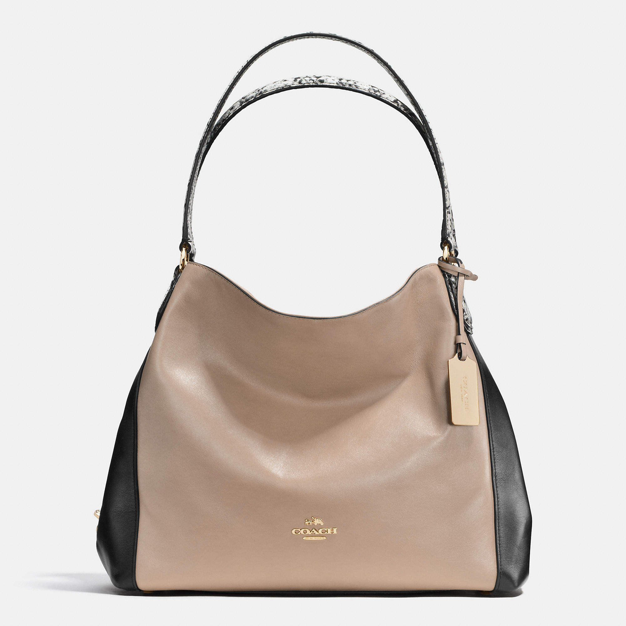 7d4de74a3424 Lyst - COACH Edie 31 Color-Blocked Shoulder Bag in Natural