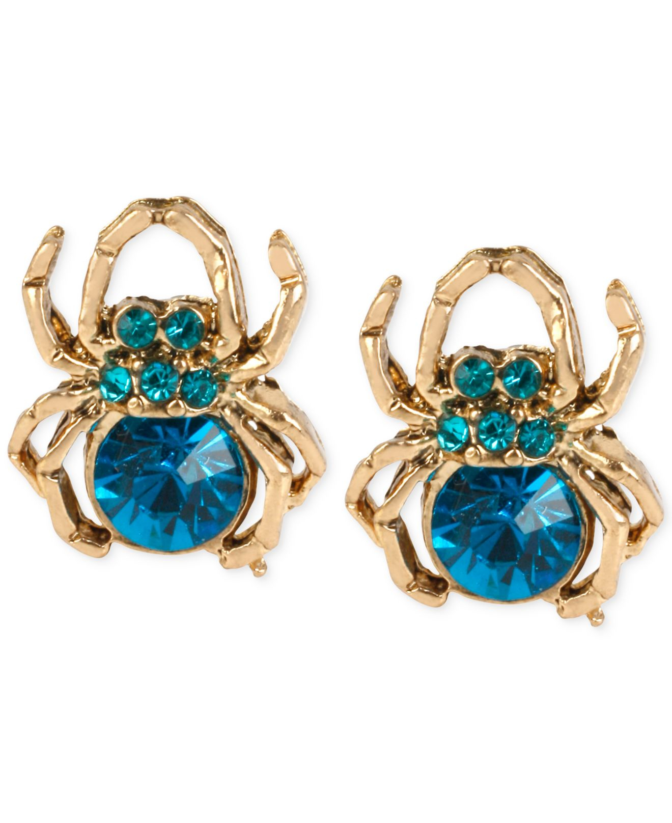 Betsey Johnson Gold Tone Blue Stone Spider Stud Earrings In