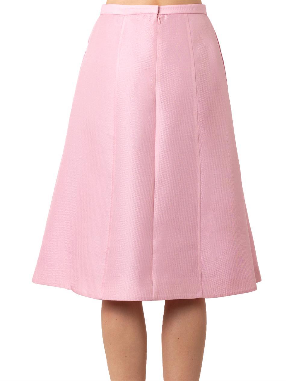 tibi simona jacquard midi skirt in pink lyst