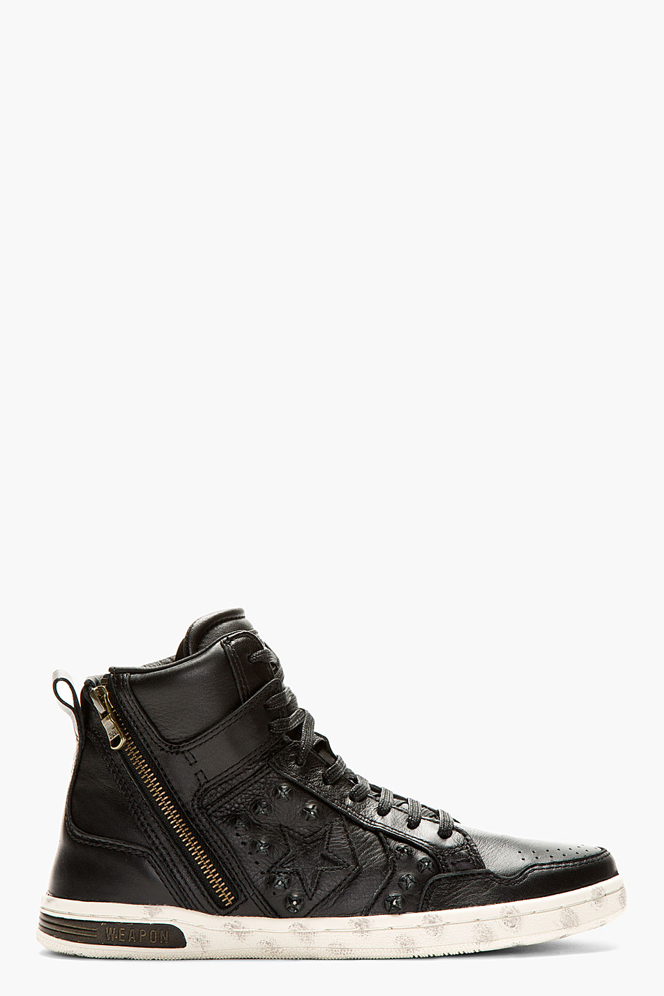 Converse Black Leather Hidden Hardware Weapon High Top