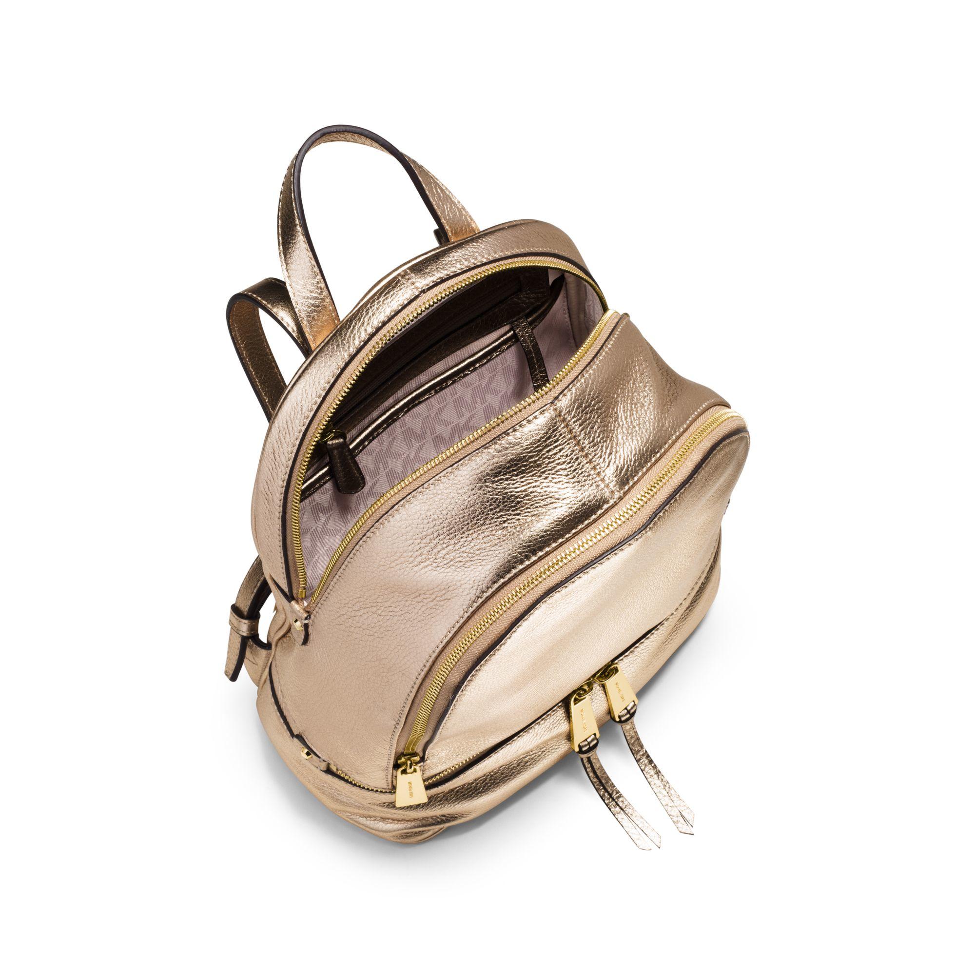 60ee3b76b71b Lyst - Michael Kors Rhea Metallic Medium Backpack in Metallic