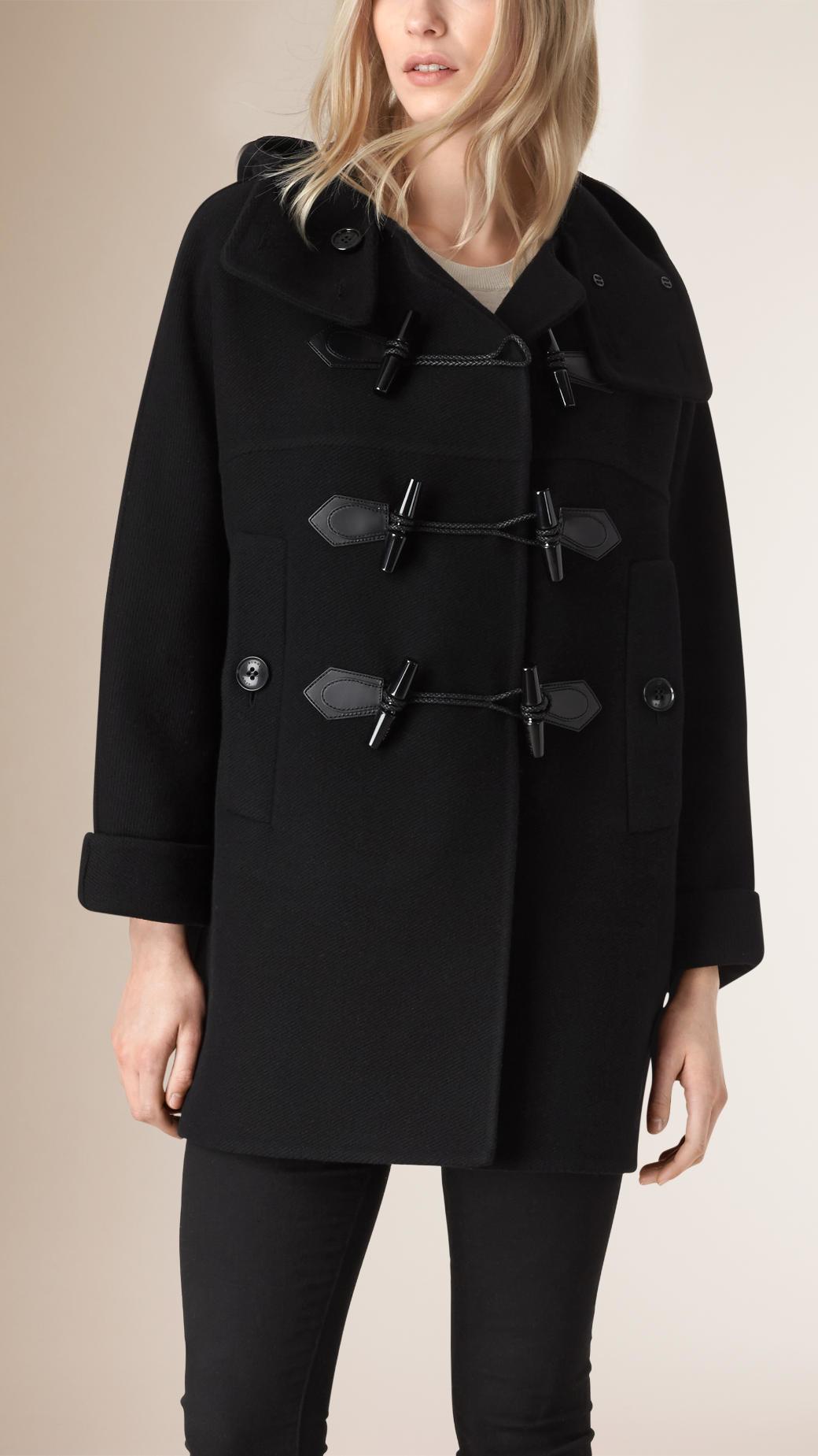 Burberry Oversize Virgin Wool Cashmere Duffle Coat Black in Black ...