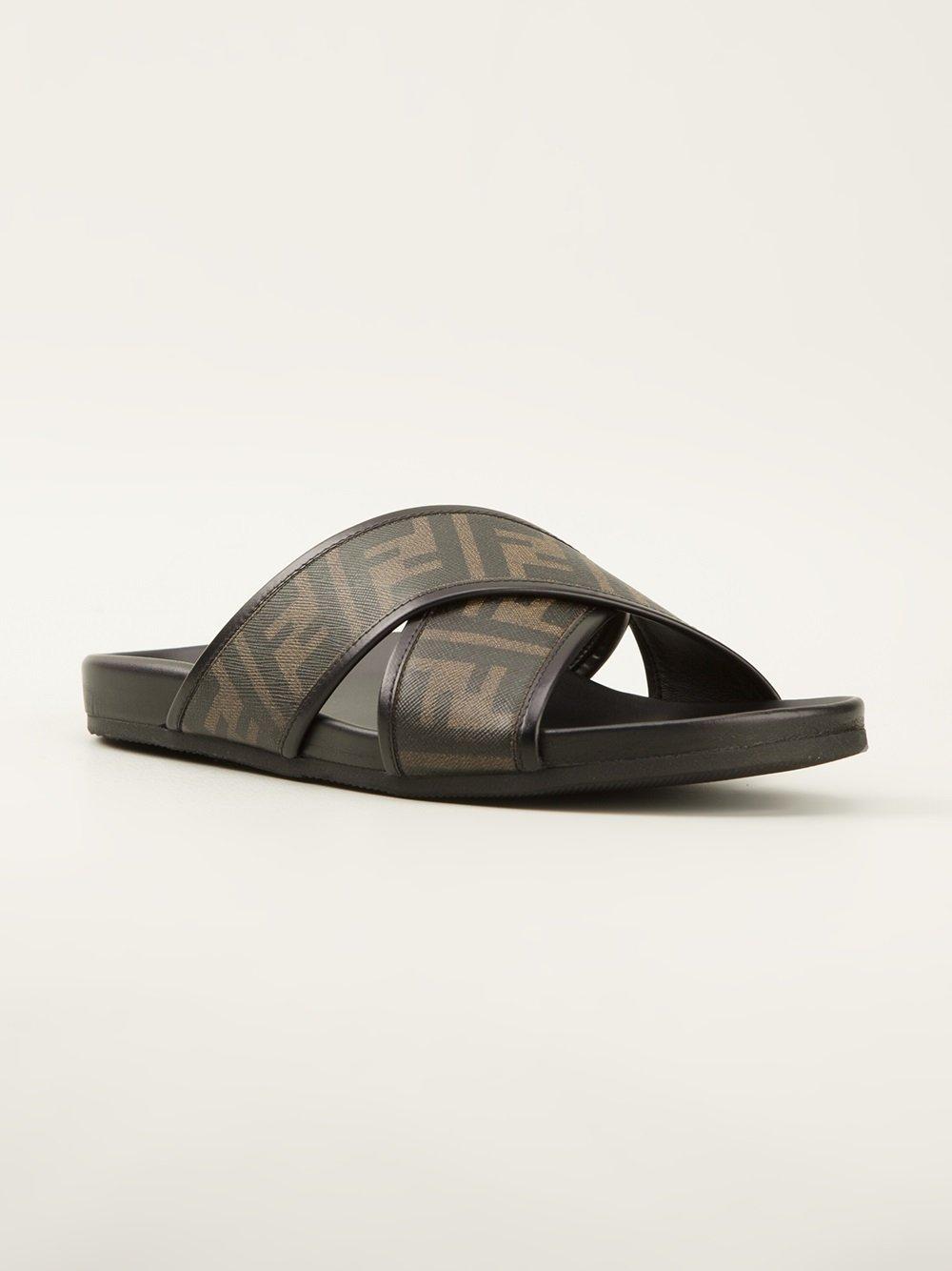 Fendi Zucca Sandals In Black For Men Lyst