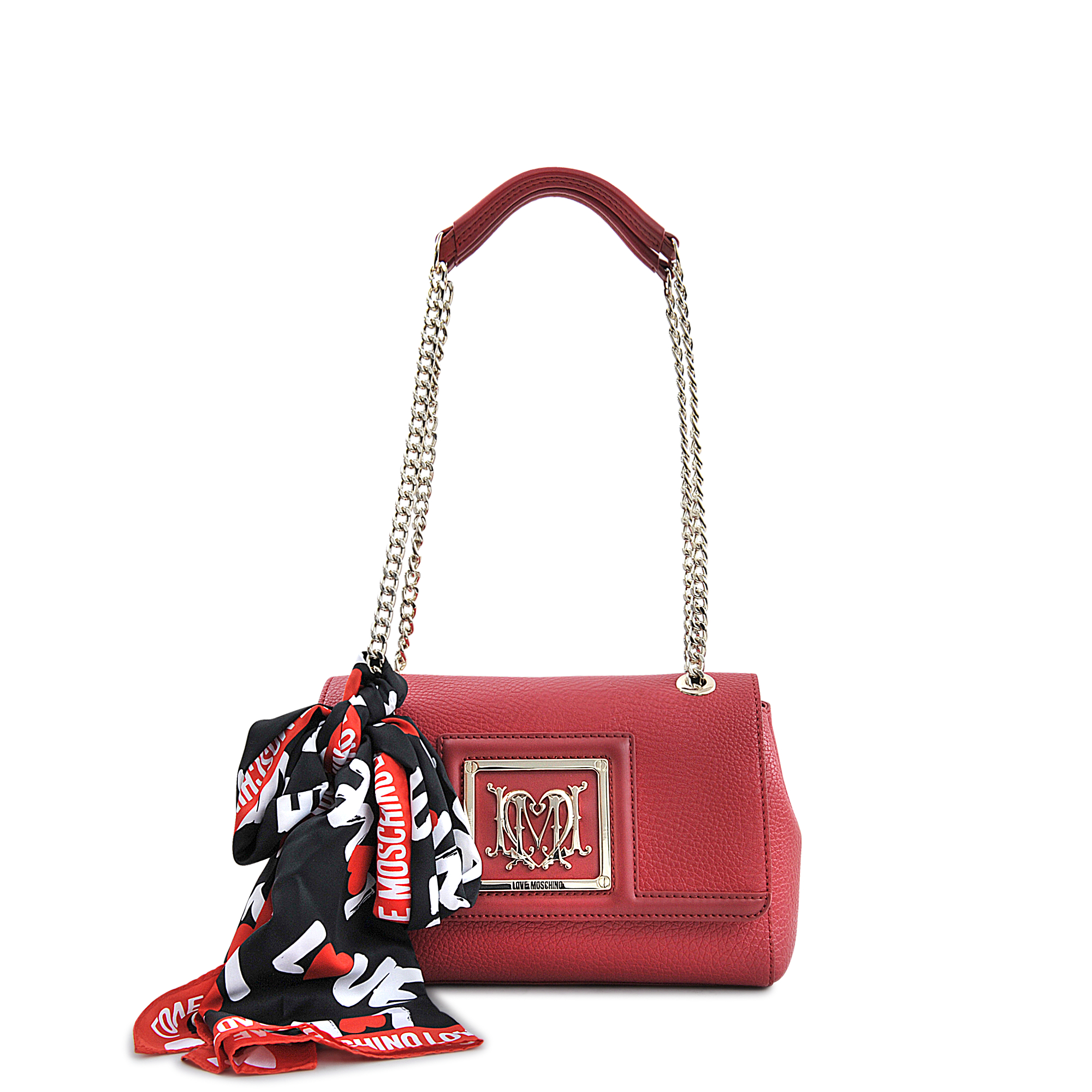 Love moschino I Love Scarf Flap Bag in Red