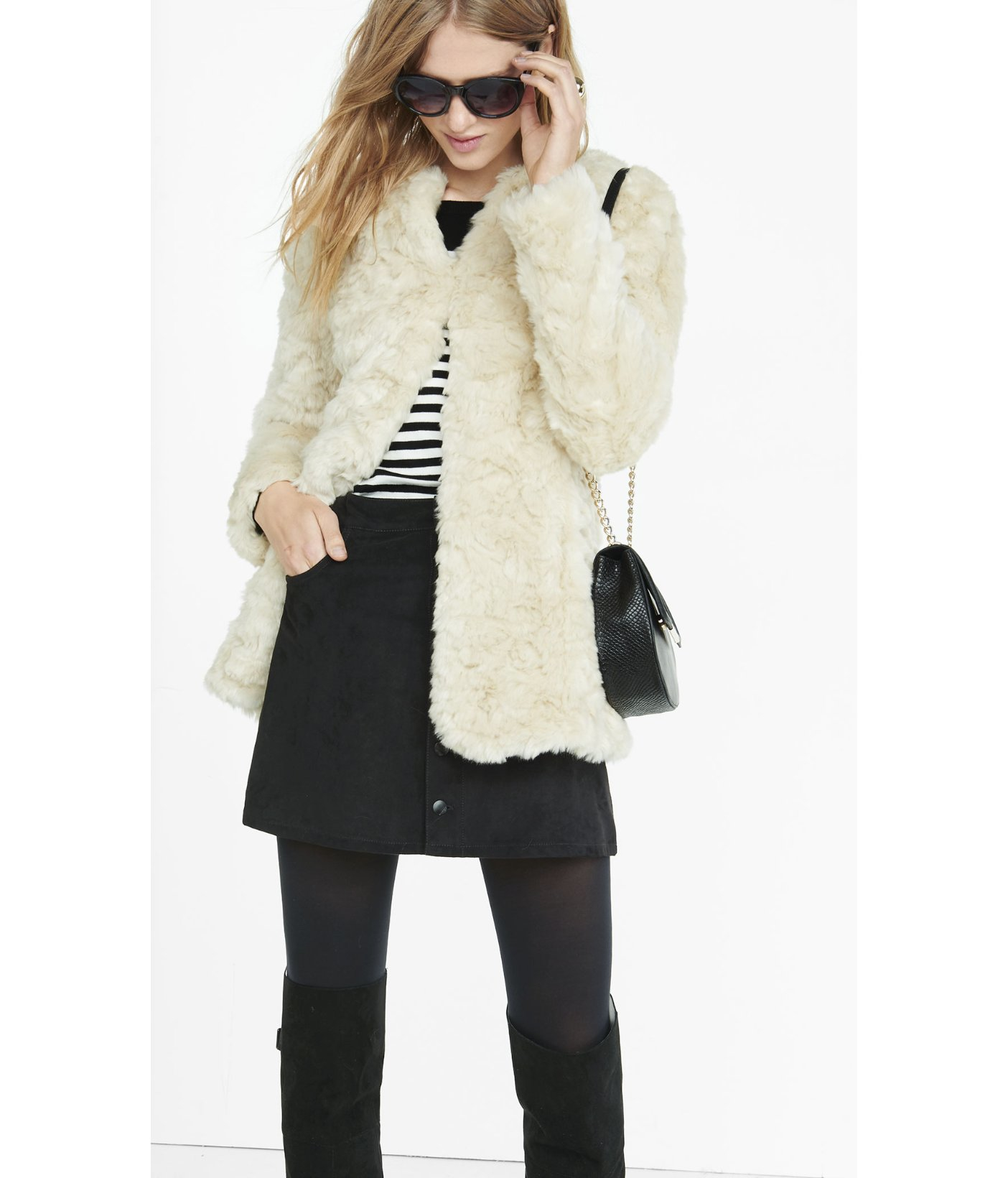 Express Ivory Crushed Faux Fur Coat in White | Lyst