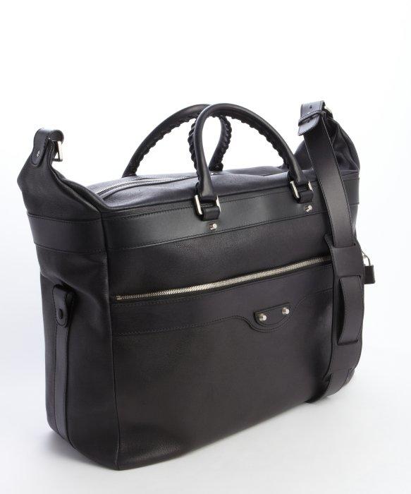 8743e57edb12 Balenciaga Pre-owned  Black Leather Weekender Travel Bag in Black ...