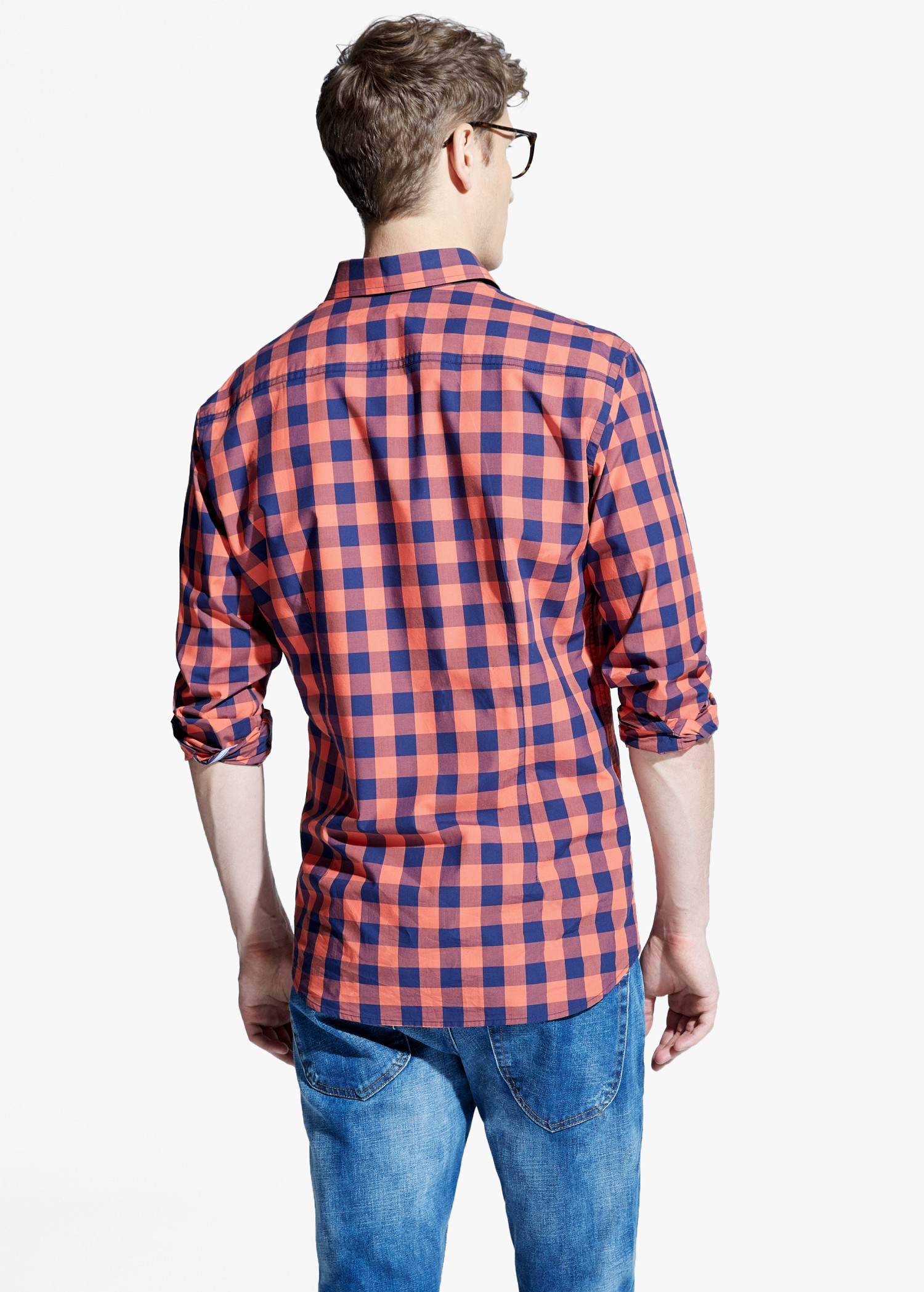 Lyst mango slim fit check shirt in red for men for Slim fit check shirt