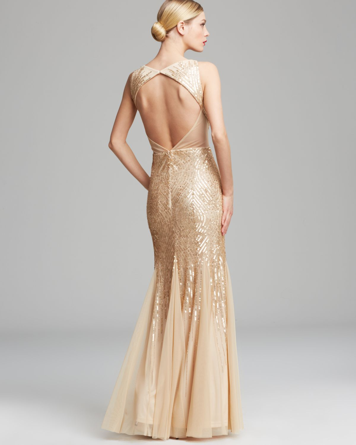 Lyst - Adrianna Papell Gown Sleeveless V Neck Beaded with Illusion ...