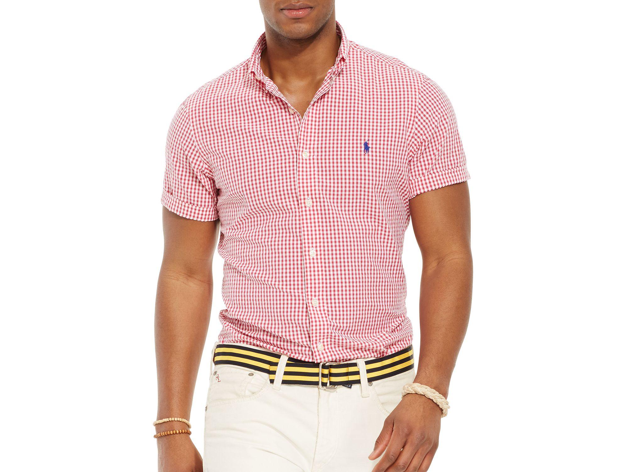 3a156c111 Ralph Lauren Polo Short Sleeved Striped Seersucker Button Down Shirt ...