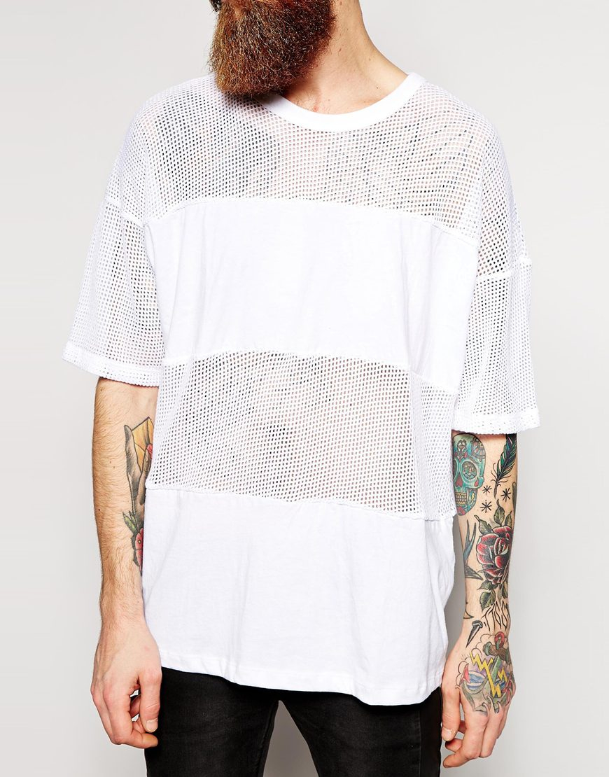Lyst American Apparel Oversized Waffle Mesh T Shirt In