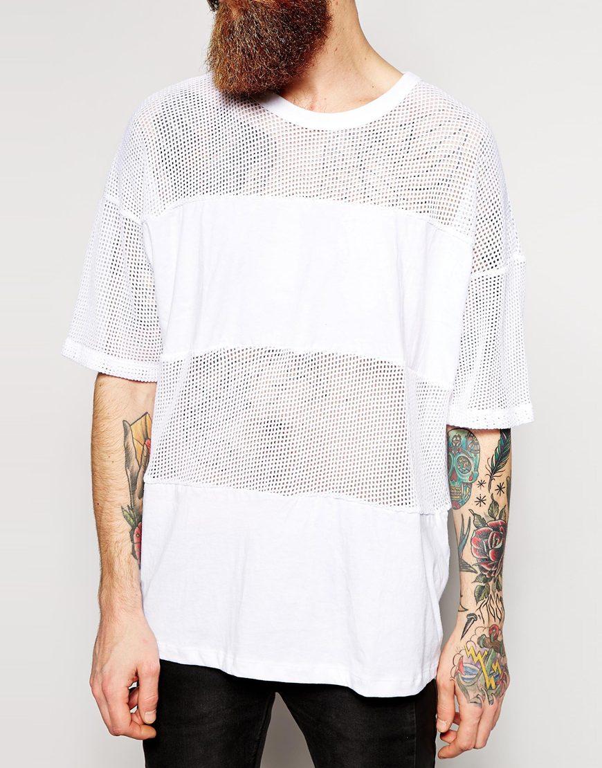 Lyst american apparel oversized waffle mesh t shirt in for American apparel mesh shirt
