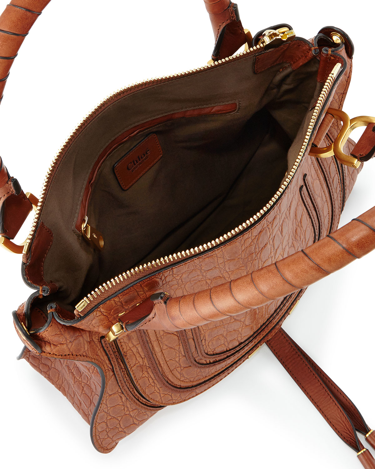 Chlo¨¦ Marcie Medium Croc-Embossed Shoulder Bag in Brown (mahogany ...
