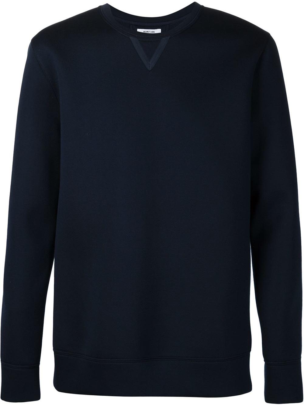 Lyst helmut lang crew neck sweatshirt in blue for men - Sweatshirt kleid lang ...