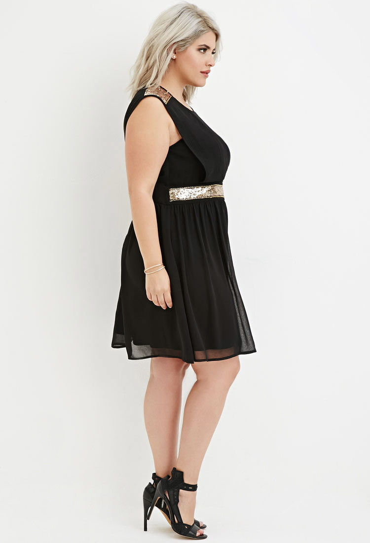 Lyst Forever 21 Plus Size Sequin Panel Layered Chiffon